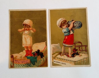 Victorian Trade Card,  Antique French Baby Original Ephemera Advertising, Golden Girls Children Collectable Destash Card Making Scrapbook