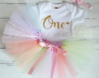 Birthday tutu baby rainbow girls 1st one pastel headband babysuit birthday personalised set photo prop cake smash