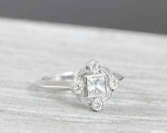 Morganite And Diamond Halo Engagement Ring By