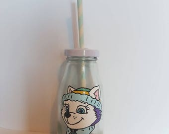 Hand painted paw patrol Everest small GLASS milk bottle.