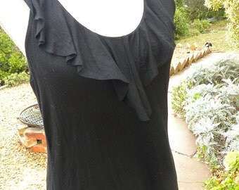 black stretch halter neck frill top, vintage, size 12-14, usa 10-12, gothic boho