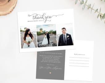 Wedding Thank You Photo Postcard, Printable Photo Thank You Card, Wedding Thank You Card
