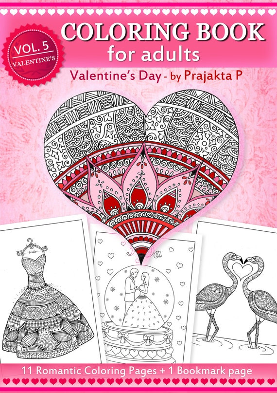 Adult coloring book for Valentines day Zentangle inspired