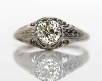 Circa 1920s Art Deco 18K White Gold .62ct Old European Cut Diamond Engagement Ring - VEG#670