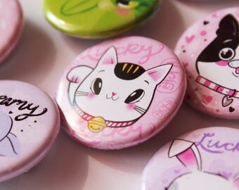 Kawaii 32mm Button Badges, Selection of 7 Cute AF Buttons!
