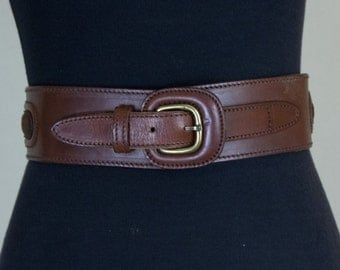 Vintage Neiman Marcus 60s Small Suede Leather Waist  Belt With Brass Buckle
