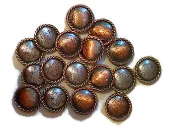 17 ea Destash 25mm Assorted Color Rope Edge Conchos, Western Conchos, Metal Decorations, Metal Embellishments