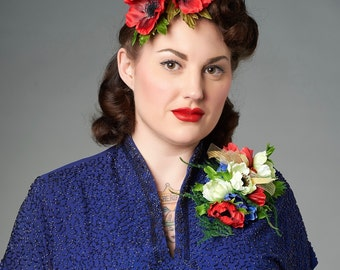 Red Double Anemone Pin Up Hair Flower