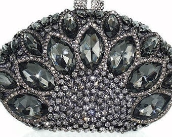 New Silver With Smoke Gray  Crystal  Hardshell Evening Clutch Handbag