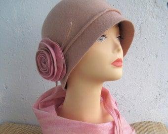 Pink cloche hat Women's pink hat Pink hat Cloche hat Felted cloche hat Pink felted hat Felted hat Retro hat 1920s hat Spring hat Elegant hat