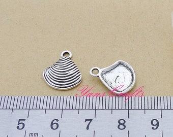 BULK 20 Seashell Charms Antique Silver Charms - DM1629