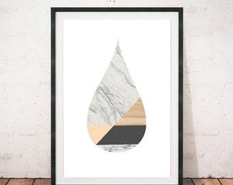 Marble wall art, Scandinavian art print, Modern poster, Tear drop, Teardrop poster, Teardrop art print, Marble, A4 print, Modern wall art
