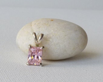 Sterling Silver Pink Cubic Zircon Pendant Small Pink CZ 925 Silver Pendant Vintage Minimalist 925 Pendant,Pink Crystal Girls Jewelry