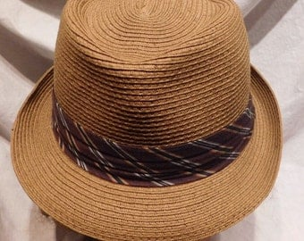 Vintage Hat Woven Straw Fedora by UBI