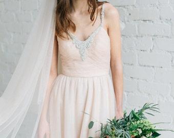 Wedding Dress ,Blush Wedding Dress,  Bridal Gown , Open Back Wedding Dress , Crystal Wedding Dress, Tulle Wedding Dress - CLAIRE