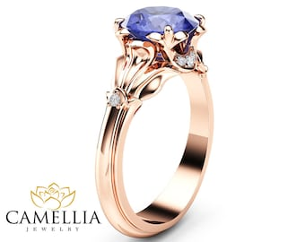 Tanzanite Petal Engagement Ring 14K Rose Gold Petal Ring 2 Carat Natural Tanzanite Engagement Ring