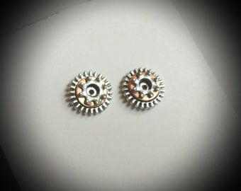 Tiny Gear and Copper Hardware Unisex Stud Earrings, Steampunk Industrial Mixed Metal Post, Small Mechanical Repurposed Jewelry.