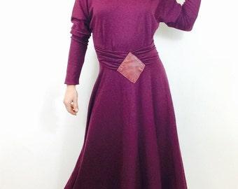 Long wool dress long sleeve dress plum dress purple dress medium dress vintage wool dress wool maxi dress applique dress long winter dress