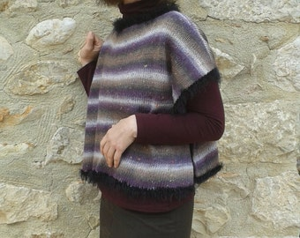 Hand knit poncho / jumper