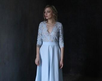 Blue wedding dress, Blue bridesmaid dress, Lace wedding dress, Summer dress, Lace sleeve wedding dress, 0116 // 2017