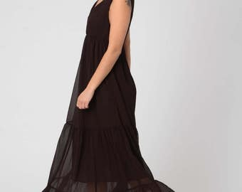 Woman's Brown Evening Dress, Hippie Maxi Dress, Maternity Maxi Dress, Dark Brown Maxi Chiffon Dress, Loose Summer Dress, Bohemian Maxi Dress