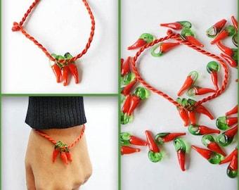 Red thread bracelet with chili pendant. Handmade Tibetan Good luck braided thread bracelet, friendship bracelet. Gift idea. Evil eye