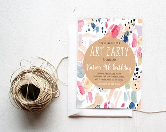 Painting Party Birthday Invitation, Art Party, Watercolor, Printable Kids Birthday Invite (857)