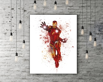 Iron Man Art Watercolor Paint, Marvel Decor, Avengers Poster, Superhero Gift, Iron Man Print, Movie Lover Gift, Iron Man Poster, Tony Stark