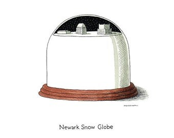 Newark New Jersey - Funny Snow Globe - New Jersey Winter - Newark Skyline Art - New Jersey Snow - Winter Wonderland - Winter Scene Print