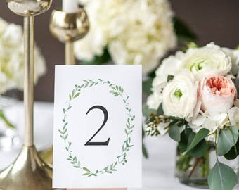 Printable Table Number Cards - Botanical Garden Wedding Table Numbers Printable - Wedding Reception - Number 1 to 20 - (Item code: P182)