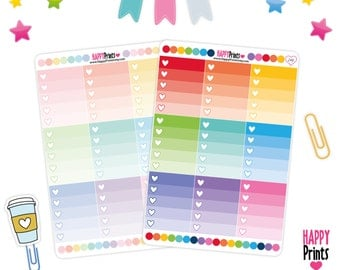 Ombre Heart Check List Stickers, Planner Stickers, Erin Condren Stickers