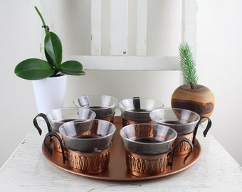 Tea glasses with copper cup Schott Mainz Copper decoration kitchen Vintage 70s with serving plate Copper coated set