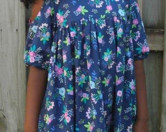 Girls Dress, Toddler Dress, Baby Dress: Glitz Dress - Blue Floral