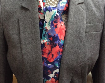 Silky soft fabric red, blue and cream scarf