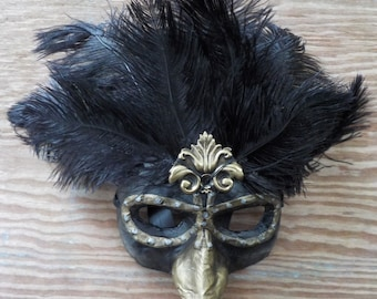 Black and brass feathered mask, Mardi Gras mask, feathered steampunk mask, black feathered mask, long nose mask, Venetian mask, carnival