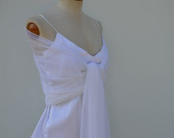 Scarf in tulle satin white, satin stole married, white stole