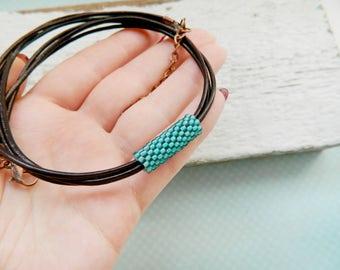 Leather Choker Blue Choker Choker necklace Bojho choker blue Necklace Leather Necklace womens gift Boho jewelry Boho chic mint Emerald gift