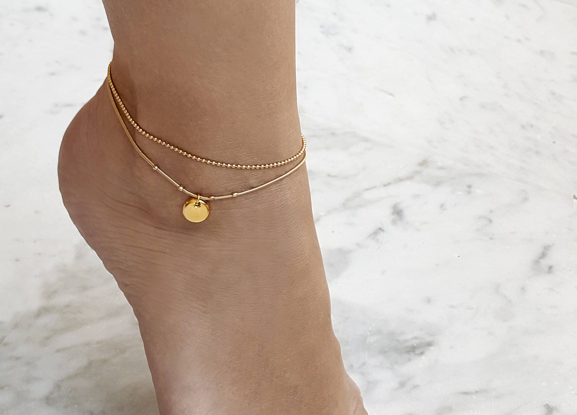 loulou moda crystal operandi and la large bracelet falaise pearl plated by blue pebble de gold anklet