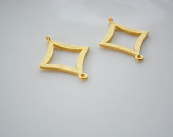 Matte Gold textured Diamond link Pendant, Tarnish Resistant finding, 23mm, jewelry component, 2 pc, New Wholesale supplies