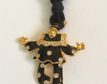 Vintage Articulated Clown Pendant with Gold Tones and Black Enamel with Black Adjustable Silk Braid