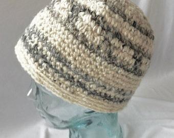 Crocheted wool(hand-spun) hat