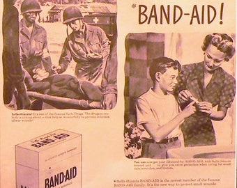 1943 Band-Aid Ad Matted Vintage Print