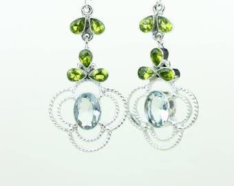 Green Amethyst Peridot 925 SOLID (Nickel Free) Sterling Silver Italian Made Dangle Earrings e685