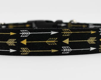 Golden Arrow Dog Collar, Gold and Silver Arrow Dog Collar, Gold and Black Dog Collar, Small Dog Collar, Large Dog Collar