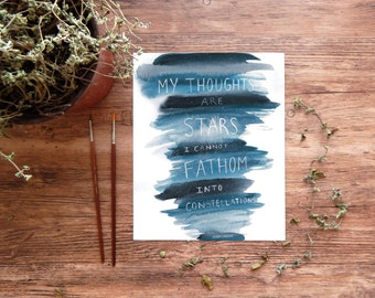 """The Fault In Our Stars Art Print, John Green quote, """"My Thoughts are Stars"""" TFIOS watercolor printable ~ digital download 8x10 wall art"""