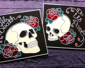"Hand Made 'Til Death Do Us Part' Mirrors 12""x12"" (pair)"