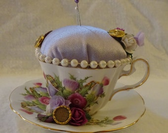 Teacup Pincushion, Gift for Sewer, Sewing Room Decor, Decorative Pincushion, Sewing Room Accessory, Repurposed Teacup, Pin Cushion, Teacup