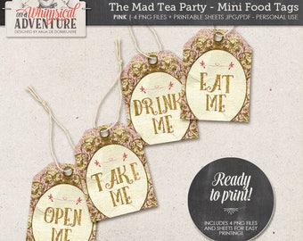Printable Alice In Wonderland mini food tags, party printables, printable collage sheet vintage mad tea party digital download