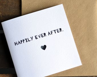 Handmade 'Happily Ever After' Paper Cut Wedding Card