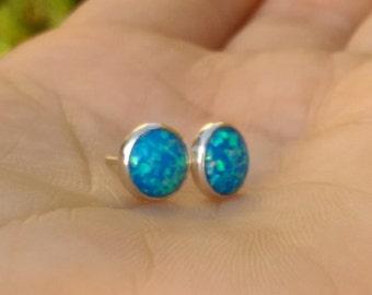 blue silver earrings, bright blue earrings, Opal silver studs, blue opal earrings, Opal earrings, opal silver jewelry, blue opal ear studs